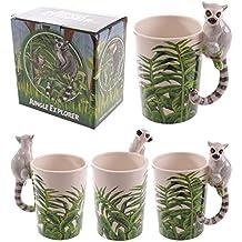 Jungle Taza de cerámica con lémur, mango, la un regalo ideal para cumpleaños, Navidad o día del padre regalo etc...
