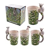 Novelty Ceramic Jungle Mug with Lemur Shaped Handle. A perfect gift for that Birthday Gift, Christmas Present or Fathers day gifts etc…