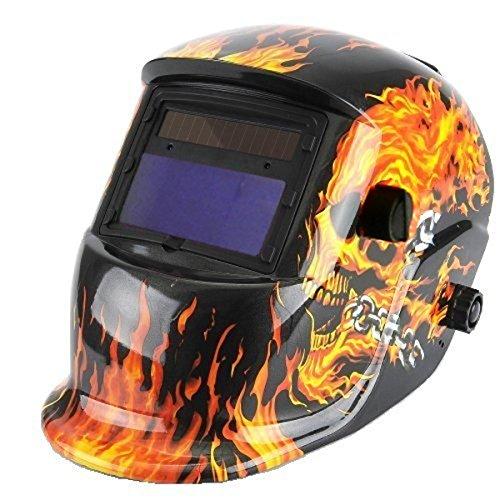 SUAVER Casco De Soldadura Ajustable,Eléctrico máscara de Soldadura Automático Solar Energía Máscara de Fotosensible Máscara de Soldador,Estado oscuro: DIN9-13 (Flame skeleton)