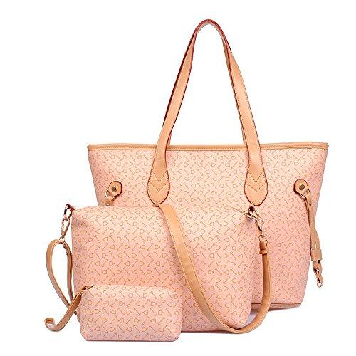 X&L 2016 Ms Hand Schulter Tasche Tasche dreiteilig Knochen Muster Pink