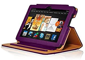 InventCase Amazon Kindle Fire HDX 7 Tablet (7 inch - 3rd Generation) 2013 Smart Multi-Functional PU Leather Book Case Cover with Sleep Wake Function - Purple and Tan