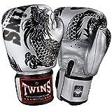 Twins Special Boxhandschuhe, Flying Dragon, Silber-schwarz Größe 12 Oz
