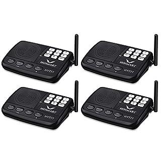 Hosmart 1500FT LONG RANGE 7-Channel Digital FM Wireless Intercom System for Home and Office (4 Stations)