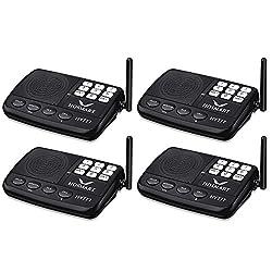 Wireless Intercom System Hosmart 1/2 Mile Long Range 7-Channel Security Wireless Intercom System for Home or Office (2018 New Version)[4 Stations Black]