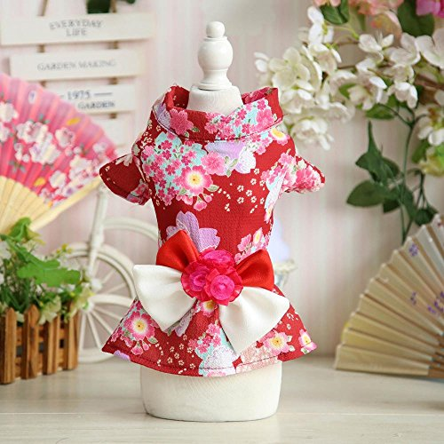nd Sommer neue japanische Pfingstrosenblume Kimono Hund und Wind Yukata Pyjamas pet (28 Japanische Halloween-kostüme)