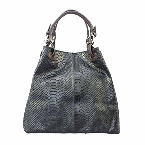 MASSIMA BARONI - Vivara Modell. Damenhandtasche aus echtem Leder. Italienisch Ledertasche mit Blumengravur und/oder Schlangenschuppen. Exklusiv, elegant und funktionales Design (dunkelblau) -