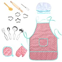 Twister.CK Childrens Chef Outfit Set, Waterproof Kids Aprons Kitchen Cooking Role Pretend Play, Dress up Costume Play Set for Toddler - 15 Pieces