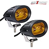 #10: AllExtreme 2 LED 20W Oval Projector Fog Light Auxiliary Spot LED Light Off-Road Driving Lights LED Fog Lights for Motorcycle Car SUV and other Vehicle (Pack of 2, Yellow)
