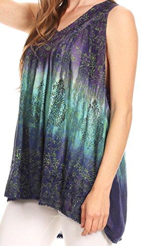 Sakkas Freya Dip Dyed Tie Dye Serbatoio con paillettes e ricami Viola
