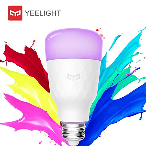 Ampoule LED E27, Original Yeelight Ampoule Couleur 10W 800lm 1700K-6500K Ampoule LED Dimmable RGB Télécommande Ampoule WiFi Fonctionne avec Google Assistant et Amazon Alexa [Multicolore Version 2018]