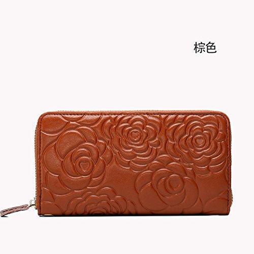 Mefly Damen Leder Geldbörse Lange Hand Geprägte Geprägte Baotou Layer brown