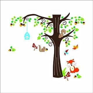 Aardvark Art Wandtattoo Wandaufkleber Waldtiere Fuchs und Eichhörnchen und Vögel Baum Wandtattoos Wandsticker Kinderzimmer