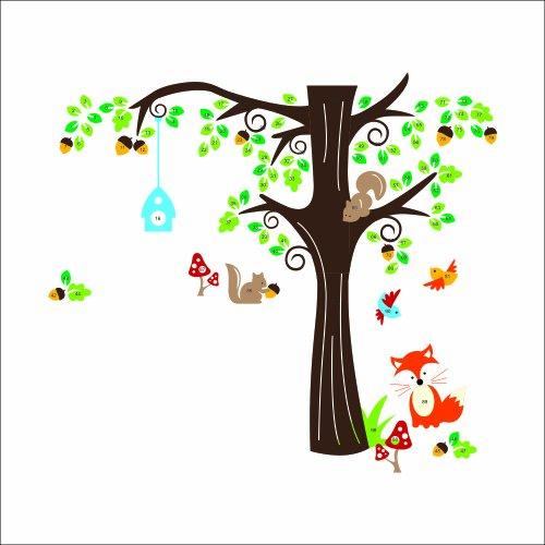 XXL Jungle Waldtier mit Fuchs, Vögel und Eichhörnchen spielen auf bunten Baum Wandtattoo Wandaufkleber für Kinder Kindergarten (X Large) Vogel-grenze