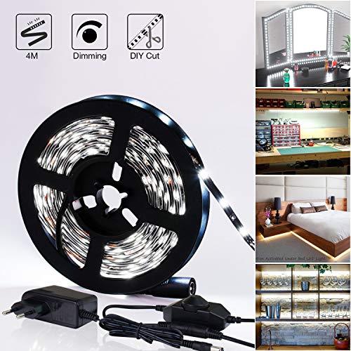 LED Strip Color Blanco 4m regulable iluminación, 6000K LED luz tira con fuente de alimentación, LED stripes Luz banda tira