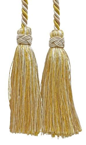 Cordon avec double pompon décoratif Decopro - Doré clair et ivoire - 10 cm - Longueur de la corde : 215 cm - Collection Imperial II - Couleur ICT : ivoire doré - 2523