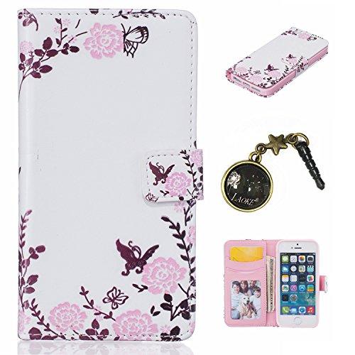 PU Cuir Coque Strass Case Etui Coque étui de portefeuille protection Coque Case Cas Cuir Swag Pour iPhone 5 / 5s / SE +Bouchons de poussière (6AB) 2