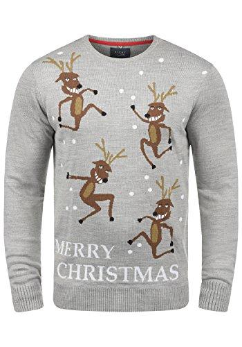 BLEND Herren Weihnachtspullover Christmas-Strickpullover Feinstrick mit Rundhals-Ausschnitt aus hochwertiger Materialqualität Stone Mix/ Merry (75141)