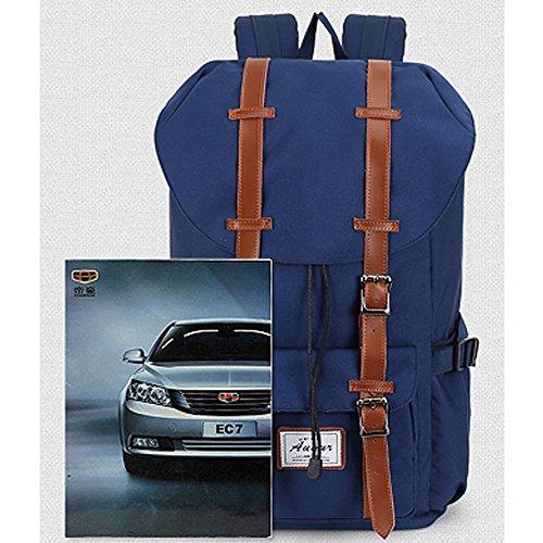 Multipurpose Rucksäcke, Fresion Schultasche mit 2 Seitentaschen Laptop Tasche Reise Rucksack Damen Herren Trekkingrucksäcke mit Großer Kapazität für 17 Zoll Laptop (Nylon Blau) Nylon Schwarz