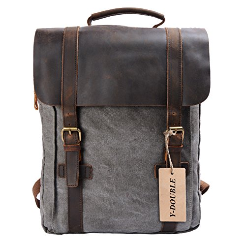 YANGYANJING Fashion zeildoek leer Canvas Vintage-stijl Unisex jonge reistas wandertasche 15 inch Laptop Rugzak voor Studenten Vrije Tijd