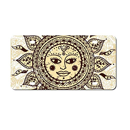 DKISEE Ethnic Ornamental Sun Metal Front License Plate Tag Auto Car Tag Vehicle Tag 4 12x6 inches