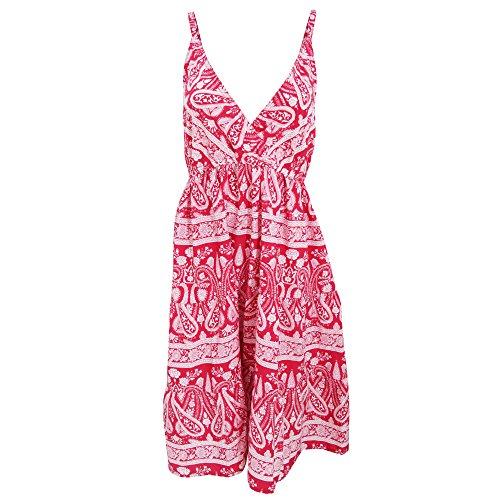 Damen Sommerkleid mit Paisley-Muster Rot/Weiß