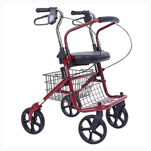 Senior Einkaufswagen Trolleys Einkaufswagen Gehhilfen Klappwagen Treppensteigwagen Haushaltsgepäckwagen (Color : Red, Size : 72 * 41 * 95cm)