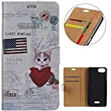KM-WEN® Case for Wiko Tommy 3 (5.45 Inch) Book Style Heart