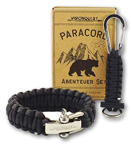 Visionquest Outdoor & Survival Paracord Set | Armband mit Edelstahlverschluss | Schlüsselanhänger mit Feuerstahl | Ebook & Zubehör
