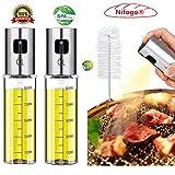 Nifogo Spray Huile et vinaigre,Bouteille d'huile de Verre,Distributeur d'huile d'olive,Bouteille d'huile Portable Convient pour Alimentaire pour BBQ/Cuisine/Sauvage(100ml)