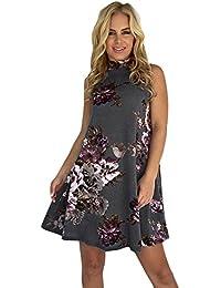 Damark(TM) Vestidos Mujer Veranon Vestido de la Vendimia Boho de la Impresión Cuello