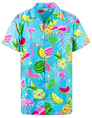 King Kameha Funky Hawaiihemd, Kurzarm, Flamingos Melonen, Türkis, 3XL