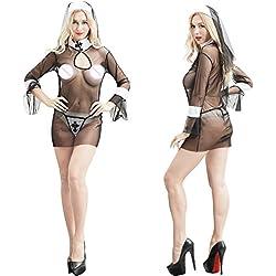 YQZXKLL Encería De,Babydoll,Lencería De Humor Hot Erotic Women Cosplay Nuns Uniforme Transparente Mood Lencería Monja Exótica Disfraces De Halloween Lencería,Un Tamaño