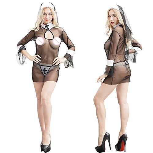 YQZXKL Bodystocking Stimmung Dessous Hot Erotic Frauen Cosplay Nonnen Uniform Transparente Stimmung Dessous Exotische Nonne Halloween Kostüme Dessous,One Size (Ding 1 Und Ding 2 Halloween Kostüme Für Frauen)