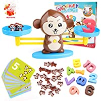 BBLIKE Math Toys, 65 Pcs Monkey Balance Math Cards Number Blocks Educational Toys for Counting Game Maths Games Best Gift for 5 Years Old Boys and Girls