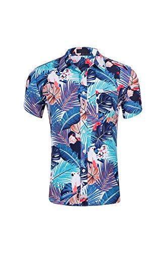 Zonsaoja-Hombres-Camisas-Hawaianas-Aloha-Shirt-Floral-Casual-Beach-Tee-Lightblue-XXL