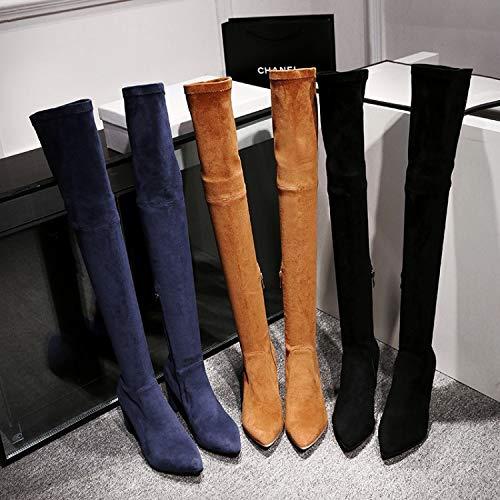HOESCZS Stiefel Damen Women's Matte Leder High Heel Dicker Absatz Stiefel Kinder Herbst Und Winter Spitzen Overknee Stiefel Skinny Legs Stretch Stiefel, Blau, 41 (Kinder Für High Heel Stiefel)