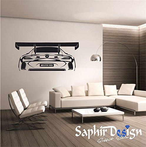 Preisvergleich Produktbild Saphir Design Wandtatto M05.01 Sportwagen / SLS AMG / Tuning(Schwarz Matt - 60x135 cm)