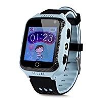 GPS Phone Clock Without Function, Childrens SOS Emergency Call + Telephone Function, Live GPS + LBS Positioning, Works Worldwide, Instructions + App + Support in German Language, blue