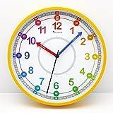 """Decowall DSH-KG25Y 9.8"""" Time Teacher Lernen Sie die Zeit erklären Kinder Wanduhr kinderzimmer Schule (25cm, Gelb)"""