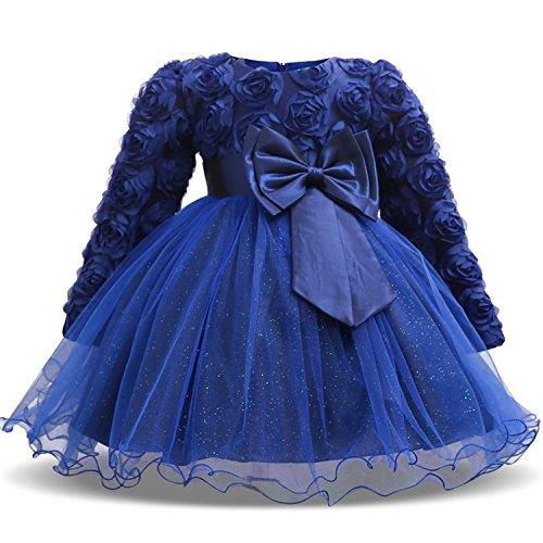 TTYAOVO Baby Mädchen mit Langen Ärmeln Spitze 3D Blume Prinzessin Birthday Party Tutu Kleider 0-6 Monate Tiefes Blau