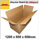 1 Stück Faltkarton 1200x600x600 mm Umzugskartons 2-wellig BC-Welle, 660g/m2 stabil Versandschachtel 120x60x60 cm DHL Kiste Post Versandbox (1200x600x600 mm)