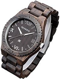 XLORDX Holzuhr Schwarz Roman Bambus Datum Armbanduhr Herrenuhr aus Holz Freund Ehemann Geschenk Gift Watch