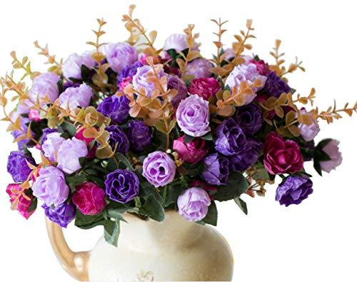 Lumenty 2Stück künstliche Seidenblumen Rosen Bouquets Geschenke Hochzeit Party Wohnkultur - Jede mit 7 Zweigen, 21 Köpfe Kunstblumen Vintage Pflanzen - Pink, violett, Purple