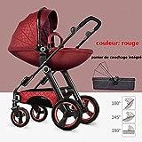 HGYG Haut paysage Panier de couchage en forme d'oeuf poussette 3 en 1 peut s'asseoir et s'allonger Pliage léger poussette et Landaus combinaison Enfant 0-3 ans (Rouge)