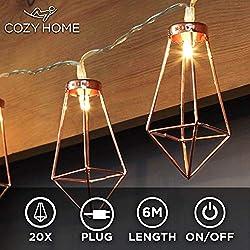 CozyHome Kupfer geometrische LED Lichterkette - 6 Meter | Mit Netzstecker NICHT batterie-betrieben | 20 LEDs warm-weiß | rose gold pyramidenform - kein austauschen der Batterien | Rosegold Deko
