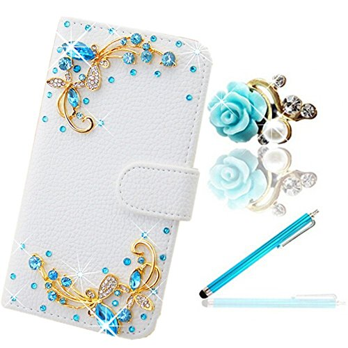 Vandot 3 in1 Set di accessori da donna farfalla bling custodia Flip in pelle per Smartphone HTC One (M7) Smartphone (11,9 cm (4,7) cellulare custodia 3d Butterfly Strass Perline Fiore Cellulare Custodia Cartoon Caricatura Dragonfly con ricambio Cute dolce Wallet Stand Cover Chiusura Magnetica Magnetic Case cristallo scheda - Bianco + Blu Flower antipolvere Camelie Glitter Strass protezione Tappo + Blue in metallo pennino Stylus Touch Pen