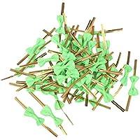 Hilai Aprox. 50 piezas de lazo rosa regalo envoltura metálico Twist Bridas para fiesta Bakery Cookie Candy Bags verde