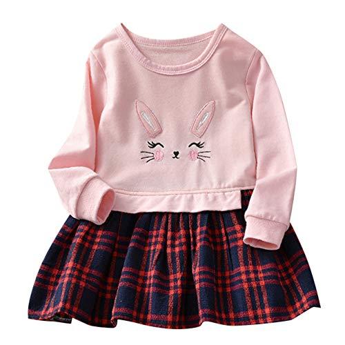 Kleidung Sets Kleinkind Baby Hase Plaid SpleißEn Prinzessinenkleid Sweatshirt Outfits Kleider Mode SchöN Blumen Drucke Lange äRmel Tops Geschenke 1-5 Jahre(Rosa,18-24 Monate) ()