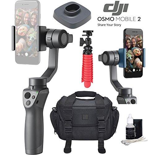 DJI Osmo Mobile 2 Handheld Smartphone Gimbal Stabilizer Videographer Bundle with Case, Flex Tripod, Base and Lens Maintenance Kit
