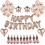 BRT Rose Gold Birthday Party Luftballons Dekorationen Selbstaufblasende Folie Geburtstagsparty Banner Stern Herz Ballon Konfetti Luftballons Latex Ballon für Birthday Party Supplies Mitbringsel